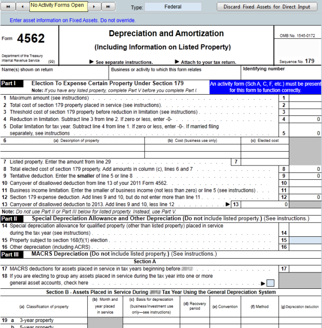 Entering Assets Directly On Form 4562